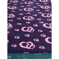 Vet/Dry Bed *Rubberback* Purple/Pink Hearts