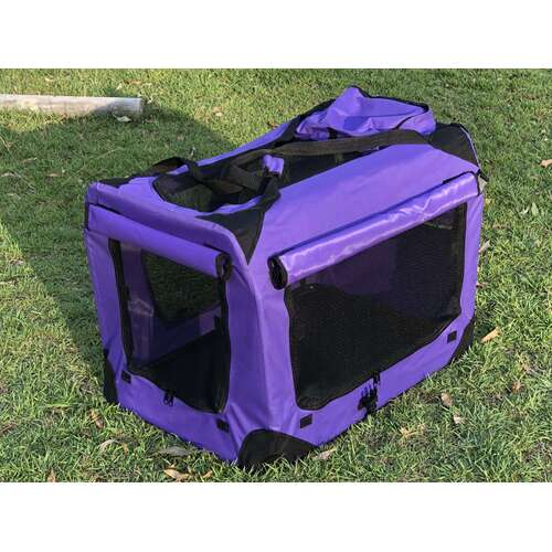 Soft/Fabric Collapsible Pet Crate/Cage Purple 70cm