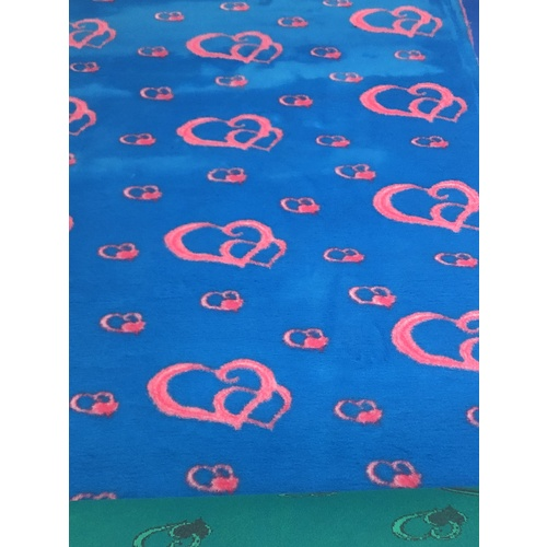 Vet/Dry Bed *Non-Backed* Blue/Pink  Hearts *** 50cm Long x 1.5m wide ***